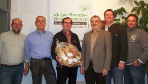 Im Bild v.l.n.r Hans Zirngibl, Bernhard Eberl, Ernst Gaßner, Aufsichtsratsvorsitzender Dr. Martin Biendl, Vorsitzender Harald Hillebrand und Ingo Schabmüller.